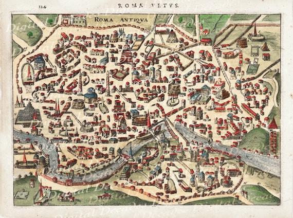 Ancient Rome Roma Roman Italy Italian City Map Digital Image Vintage Illustration