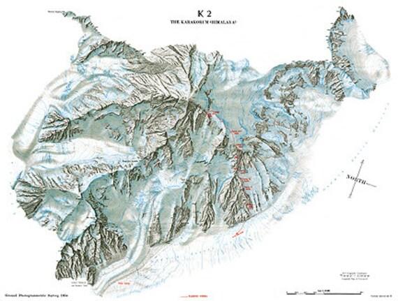 Himalaya Berge Karte.K2 Karakorum Vintage Himalaya Berge Gipfel Topographische Karte Digitales Bild Gescannte Kopie