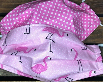 Pink Flamingo Fabric Face Mask, Flamingos Fabric, Hot Pink Fabric, Cotton Fabric, Washable, Comfort Elastic, Made in USA