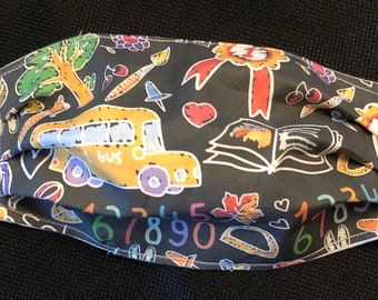 Back To School Teacher Fabric Face Mask, School Bus Driver, Washable, Reversible, Comfort Elastic, Made in USA