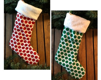 Large Polka Dot Christmas Stockings, White Faux Fur Cuff, Red & Green, Fabric Stocking, Handmade in the USA