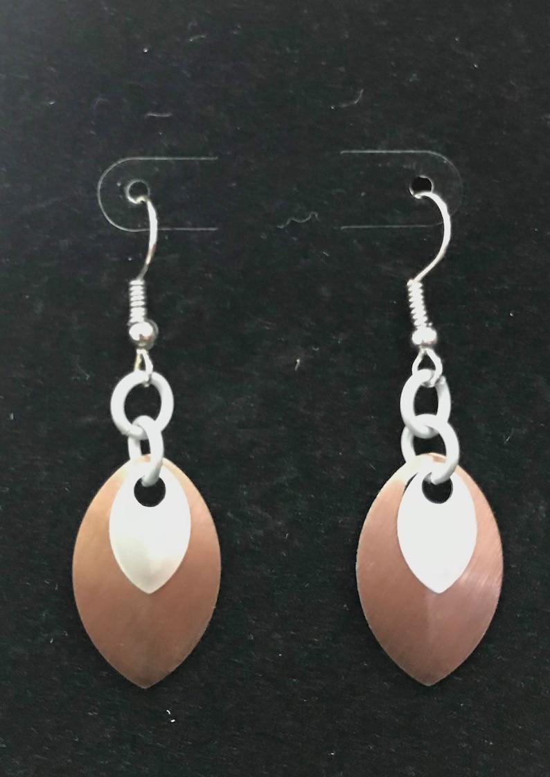 Bronze & Silver Dangle Earrings  Nickel Free Ear Wires image 0