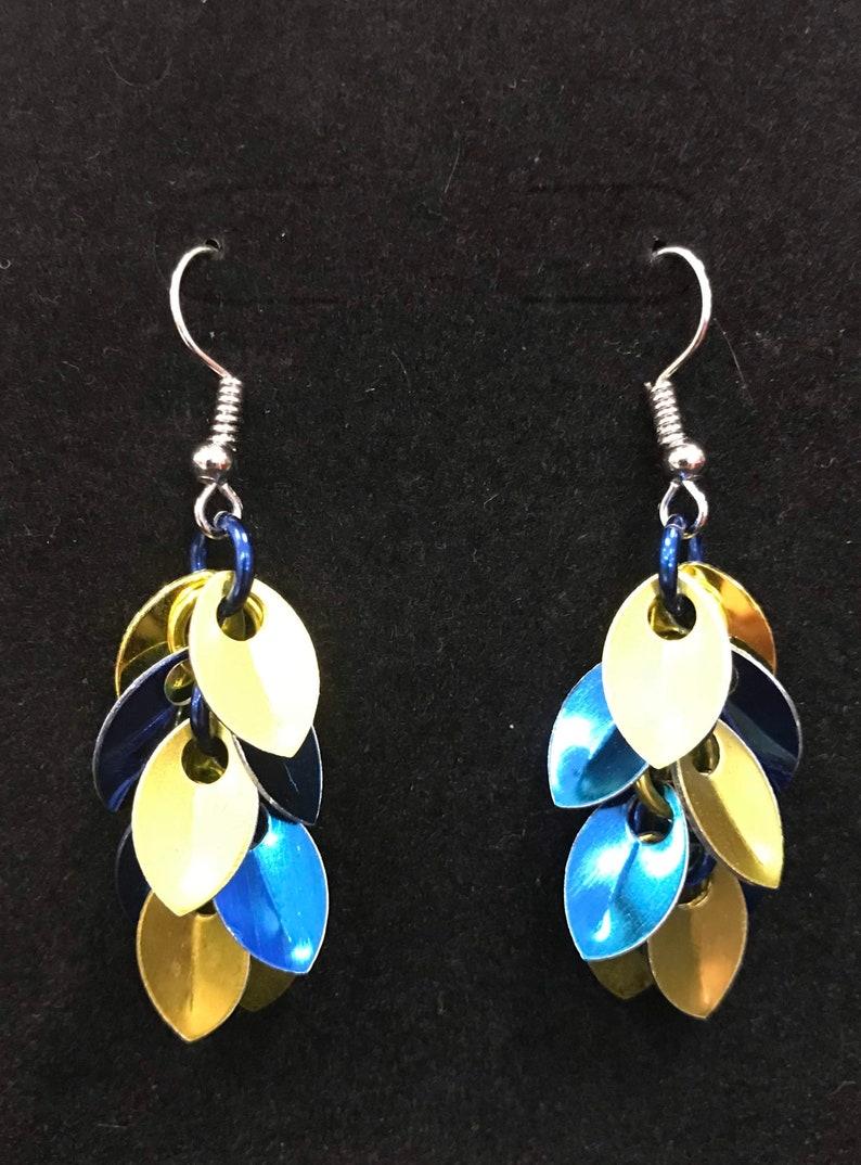 Yellow / Blue Dangle Earrings  Nickel Free Ear Wires image 0