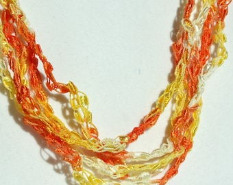 On Sale! Halloween Candy Corn - Crocheted Necklace, Lightweight Crochet Jewelry, Yellow, Orange, White Adjustable Necklace, Handmade