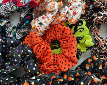 Halloween Fabric Hair Scrunchies, Candy Corn, Spooky Cats, Pumpkin Hair Ties, Ponytail Holder, Gifts for Her, Trick or Treat, Handmade