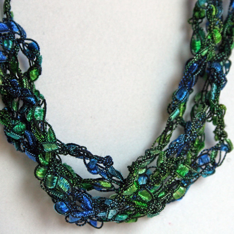 Peacock   Hand Crocheted Necklace Lightweight Crochet image 0