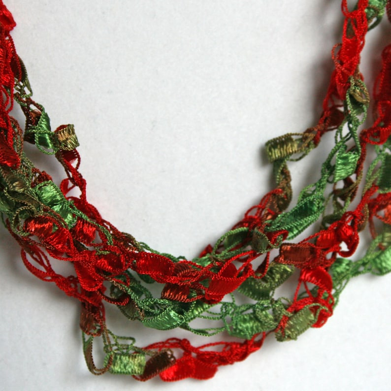 Salsa  Crocheted Necklace Lightweight Crochet Jewelry Red & image 0