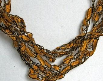 On Sale! Sunflower - Crocheted Necklace, Lightweight Crochet Jewelry, Yellow & Black, Adjustable Necklace, Handmade