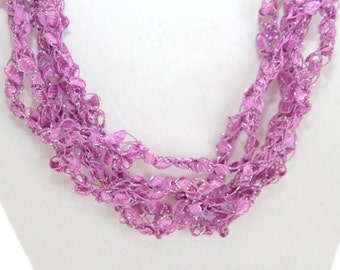 Orchid  - Crocheted Necklace, Lightweight Crochet Jewelry, Adjustable Necklace, Handmade, Sparkle Thread