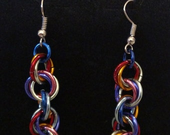 Dazzling Twist Chainmail Earrings - Nickel Free Ear Wires, Aluminum Rings, Lightweight Chainmaille Jewelry, Handmade, Multi-Color