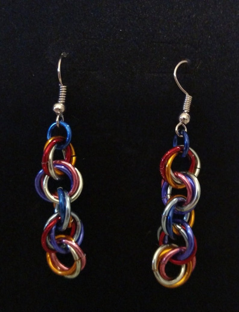 Dazzling Twist Chainmail Earrings  Nickel Free Ear Wires image 0