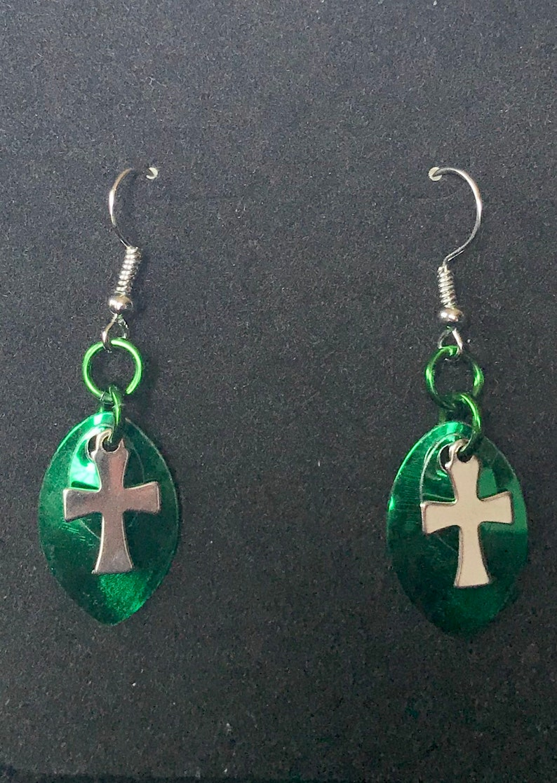 New Scalemail Cross Earrings  Availble in Four Colors image 0