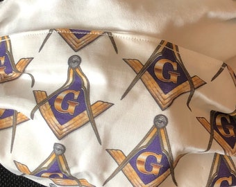 New Larger Sizes Available! Masonic Square & Compass Fabric Face Mask, Washable, Fabric, Comfort Elastic, Made in USA