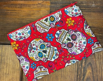 Sugar Skulls Fabric Zipper Pouch, Back To School, Makeup Bag, Toiletry Case, Sunglasses Pouch, Made in USA, Money Bag, Pencil Bag,
