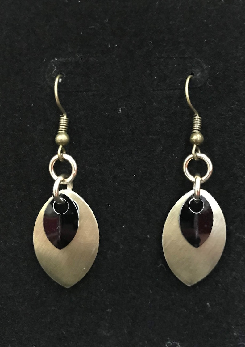 Champagne & Black Dangle Earrings  Nickel Free Ear Wires image 0