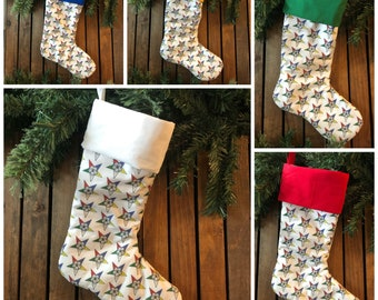 Pre-Order, Order of the Eastern Star Christmas Stocking, OES Fabric Stockings, Star Points, Masonic, Handmade in the USA
