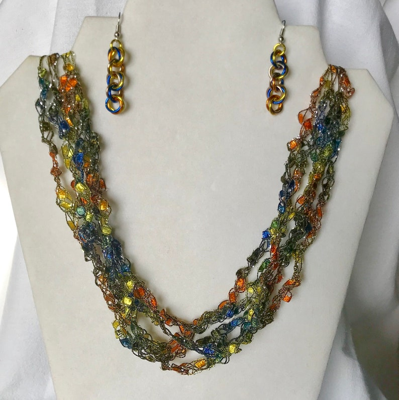 New Jungle Safari  Crocheted Necklace & Earring Set image 0