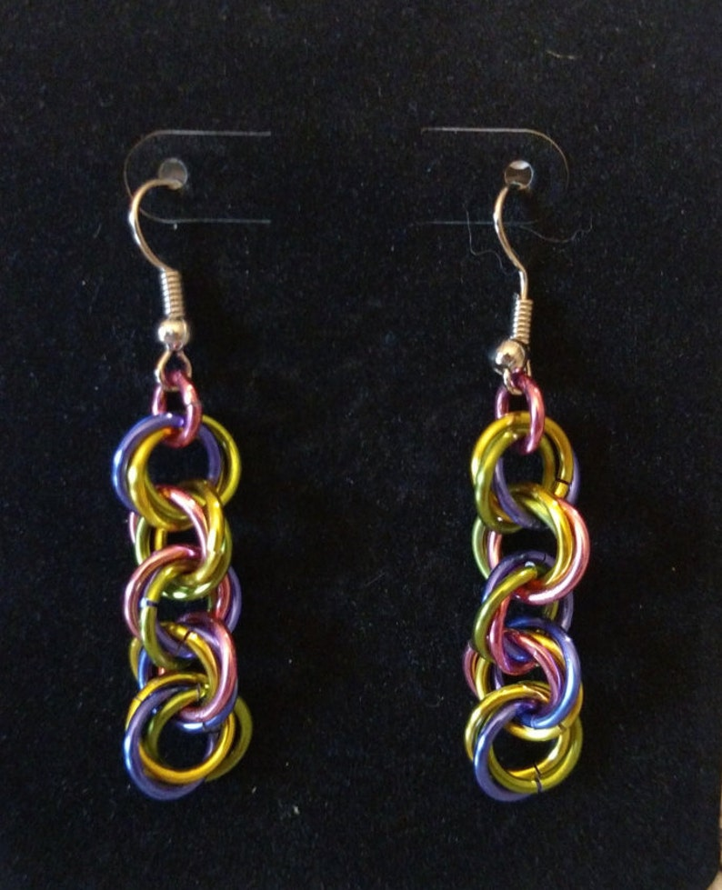 Fantasy Twist Chainmail Earrings  Nickel Free Ear Wires image 0