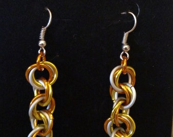 Halloween, Candy Corn Twist Chainmail Earrings - Nickel Free Ear Wires, Lightweight Aluminum Rings