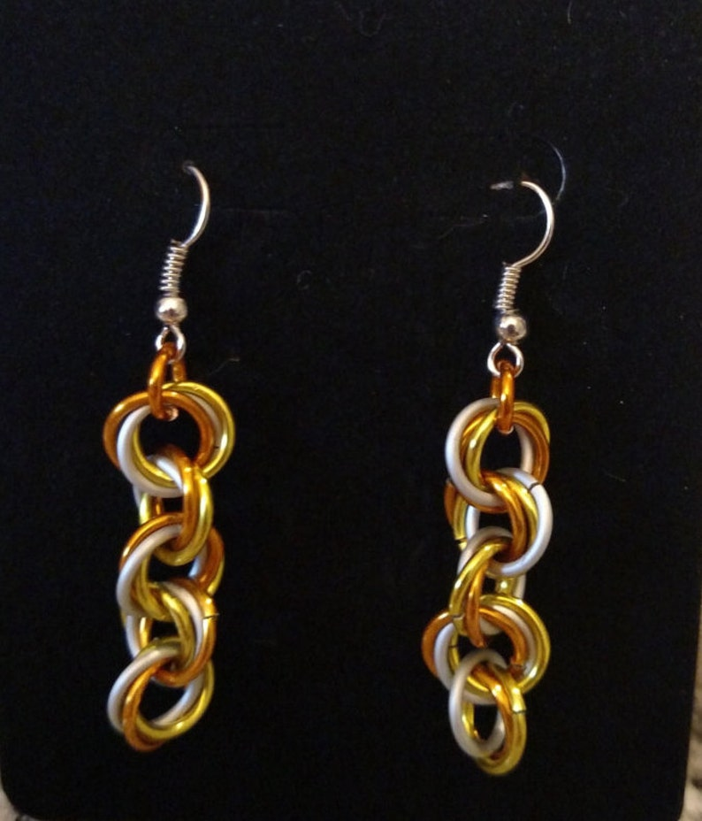 Halloween Candy Corn Twist Chainmail Earrings  Nickel Free image 0