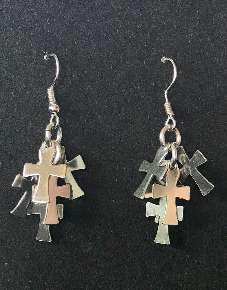 New Cross Cluster Earrings image 0