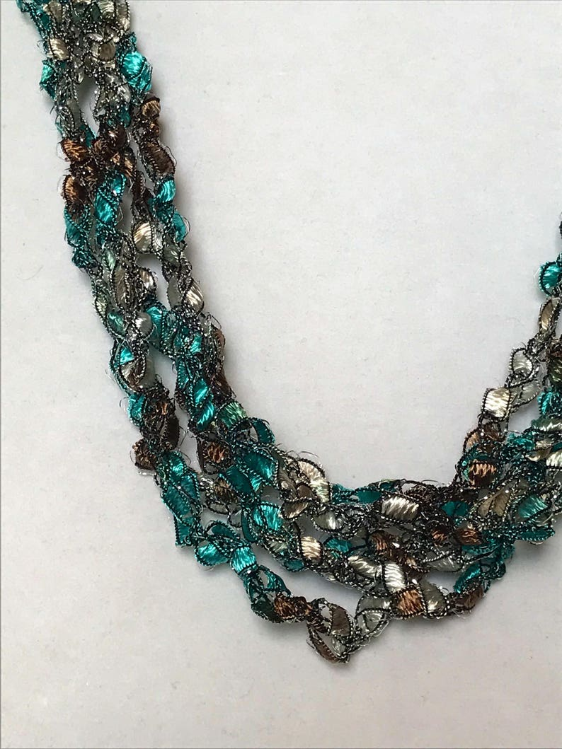 New Teal Treasure  Hand Crocheted Necklace Lightweight image 0