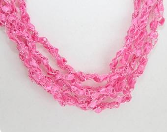 Flamingo  - Crocheted Necklace, Lightweight Crochet Jewelry, Handmade, Adjustable Necklace, Pink Sparkle, Handmade, Hot Pink