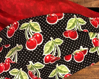 Cherries & Polka Dots Fabric Face Mask, Washable, Reversible, Comfort Elastic, Made in USA