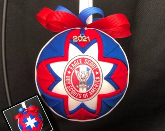 Eagle Scout Quilted Fabric Ornament, 2021 Charm, Scout Ornaments,  Boy Scouts, BSA Ball Ornament