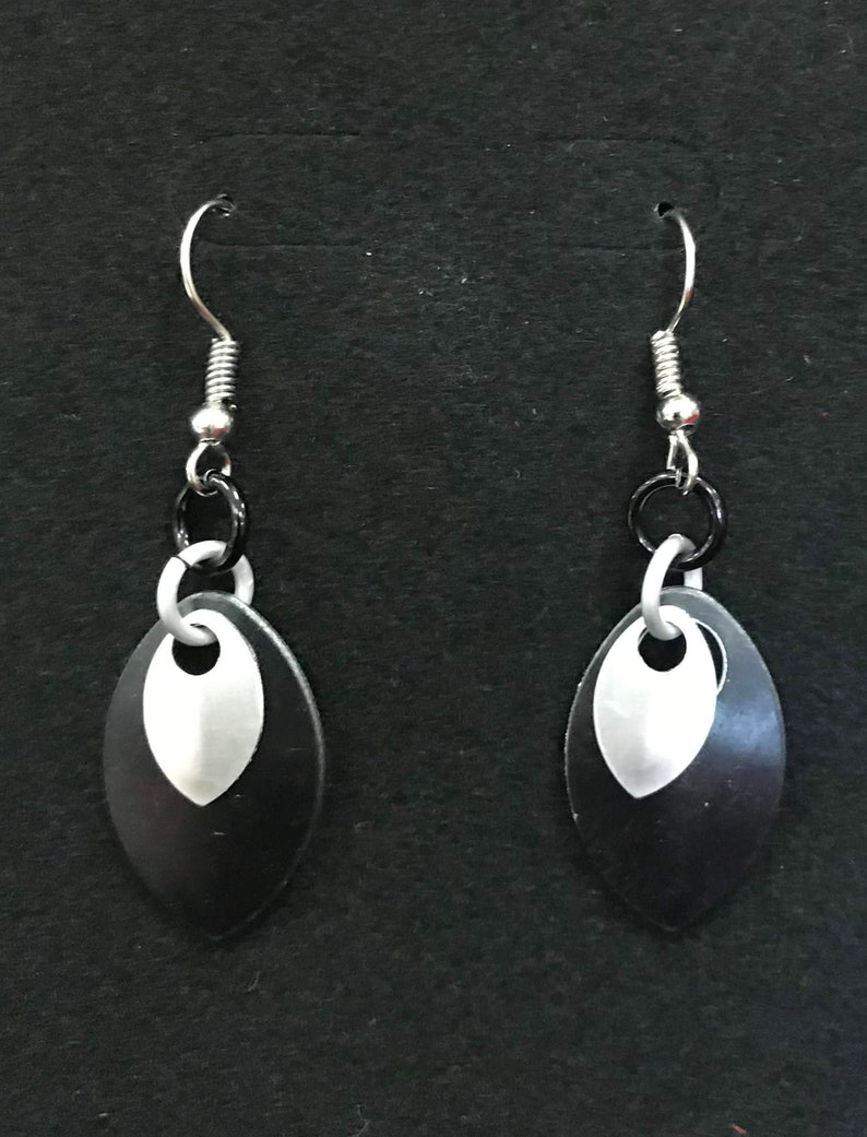 Black & Silver Dangle Earrings  Nickel Free Ear Wires image 0