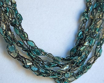 Teal Champagne   - Crocheted Necklace