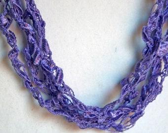 Violet - Crocheted Necklace, Lightweight Crochet Jewelry, Light Purple, Adjustable Necklace Handmade
