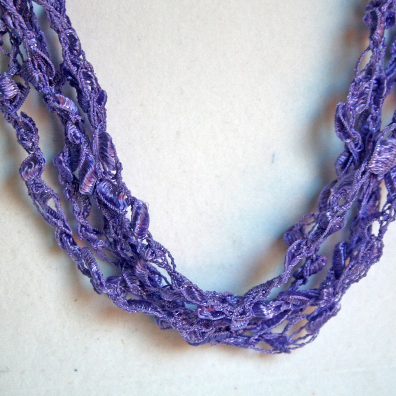 Violet  Crocheted Necklace Lightweight Crochet Jewelry image 0