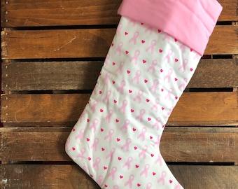 Pink Ribbon Christmas Stocking, Breast Cancer Awareness Ribbon, Fabric Stocking, Handmade in the USA