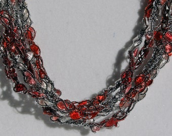 Peppermint Ice - Hand Crocheted Necklace, Lightweight Crochet Jewelry, Candy Cane, Red & White Sparkle, Adjustable Necklace, Christmas