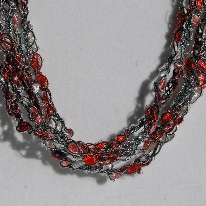 Peppermint Ice  Hand Crocheted Necklace Lightweight Crochet image 0