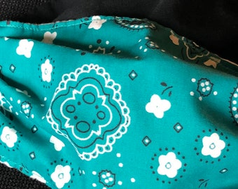 Teal Bandana Fabric Face Mask, Washable, Reversible, White or Black Fabric,Comfort Elastic, Made in USA