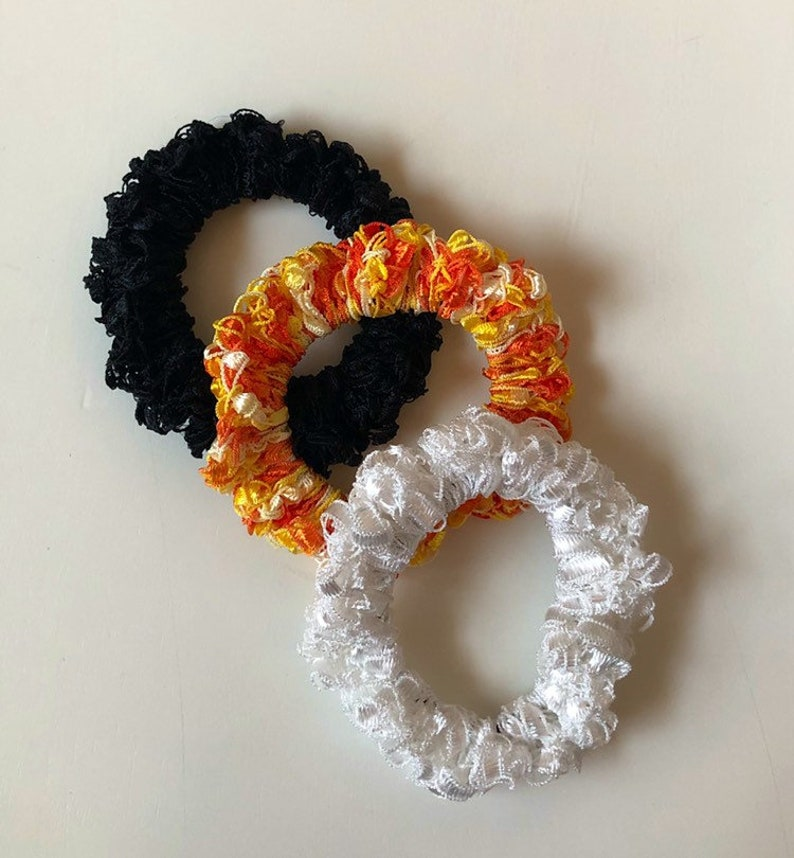 Hand Crocheted Hair Scrunchies  3 pack/small scrunchies image 0