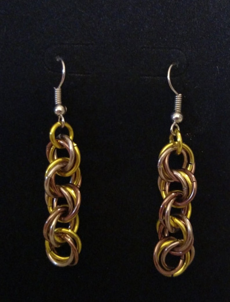 Indian Corn Twist Chainmail Earrings  Nickel Free Ear Wires image 0