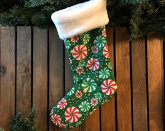 Peppermint Ornaments Christmas Stockings, White Faux Fur Cuff, Red & Green, Fabric Stocking, Handmade in the USA