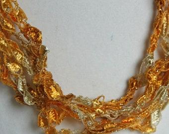 Golden Sun   - Crocheted Necklace
