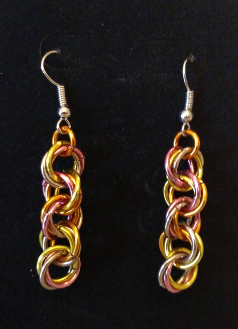 Sherbet Twist Chainmail Earrings  Nickel Free Ear Wires image 0