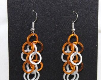 SALE Chainmail Earrings, Silver Matte & Burnt Orange - Nickel Free Ear Wires, Aluminum Rings, UT, Texas Longhorns, Lightweight Chainmaille