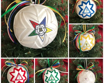 Order of the Eastern Star Quilted Fabric Christmas Ornament, Star Point OES Fabric Ornaments, Ball Ornament, 2021 Charm