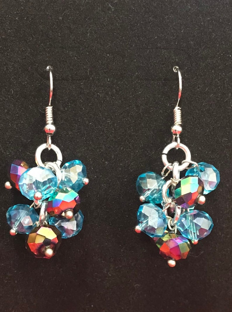 Aqua / Iridescent Dangle Earrings  Nickel Free Ear Wires image 0