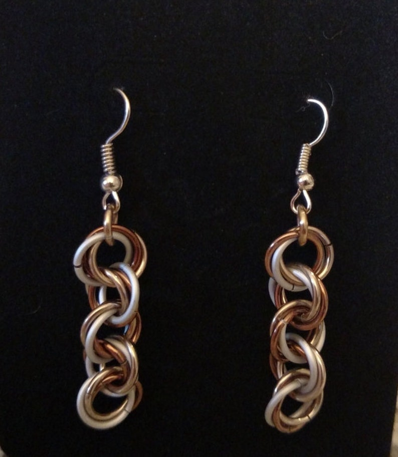 Frosted Fudge Twist Chainmail Earrings  Nickel Free Ear image 0