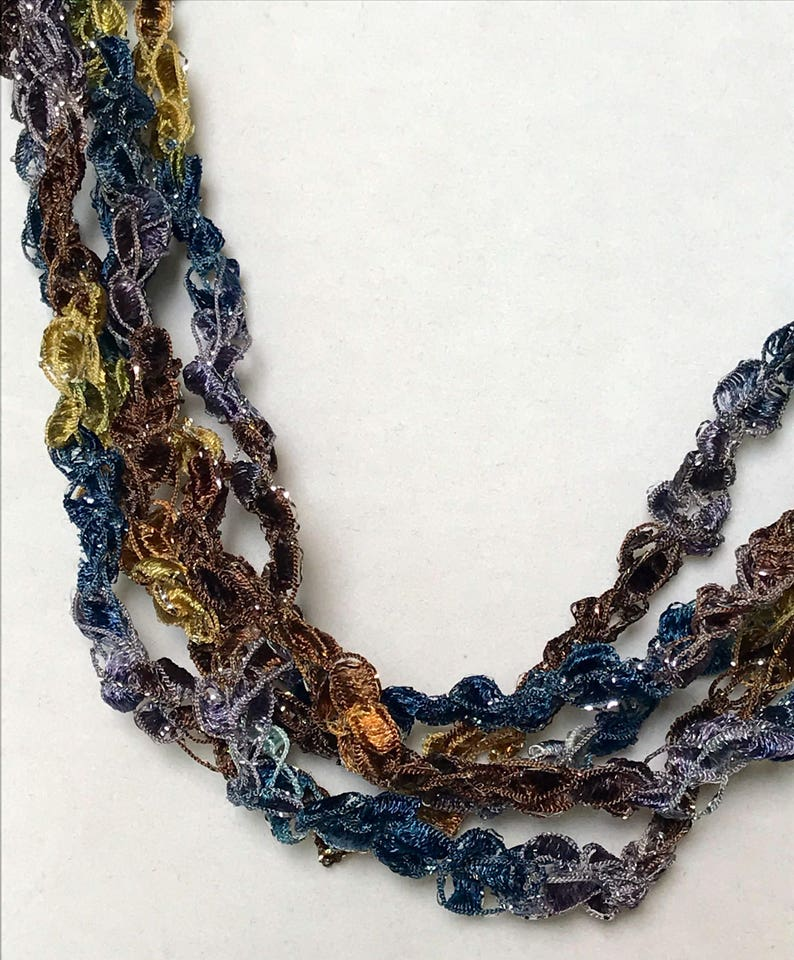 New Midnight Mesa  Hand Crocheted Necklace Lightweight image 0