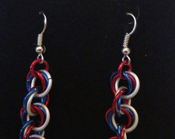 Independence Day Twist Chainmail Earrings - Nickel Free Ear Wires, Aluminum Rings, Red, White & Blue, USA, Lightweight Chainmaille Jewelry