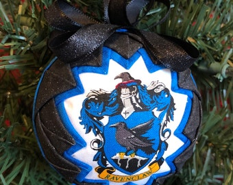Ravenclaw Quilted Fabric Christmas Ornament, Harry Potter Fabric Ornaments, Ball Ornament