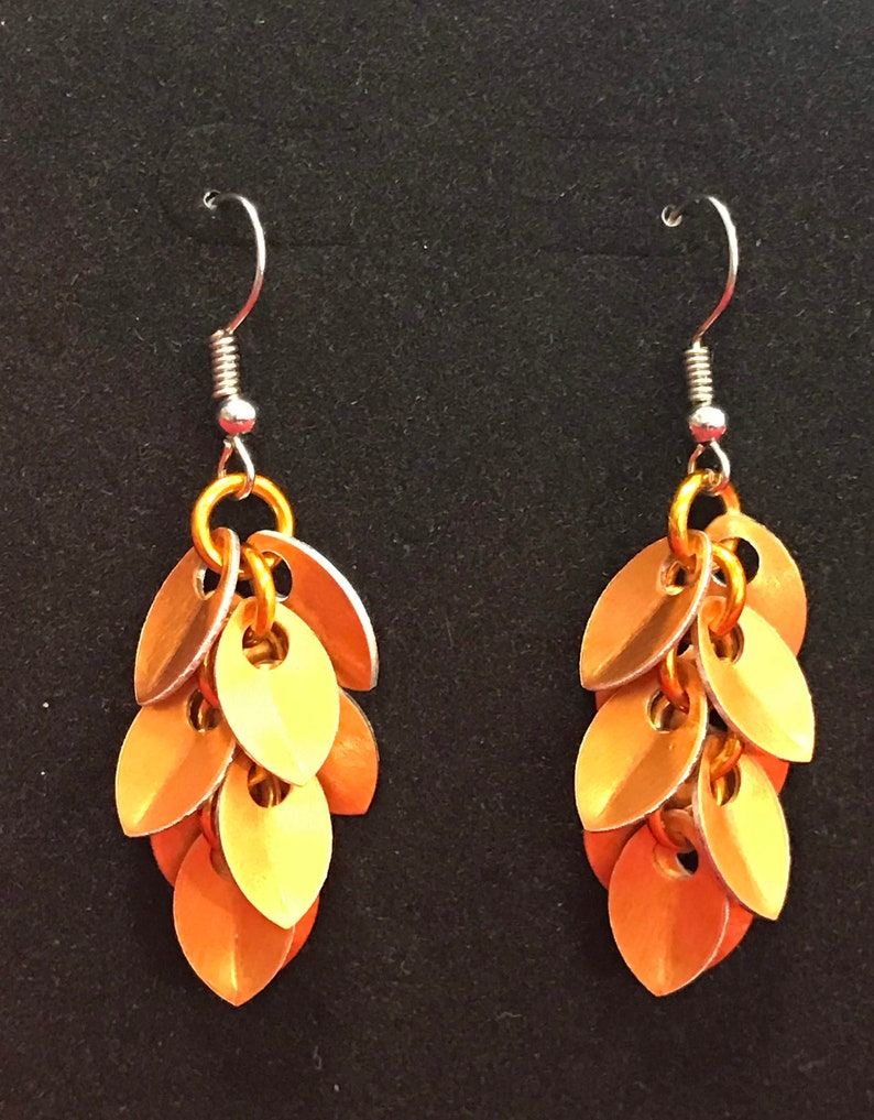 Orange Dangle Earrings  Nickel Free Ear Wires image 0
